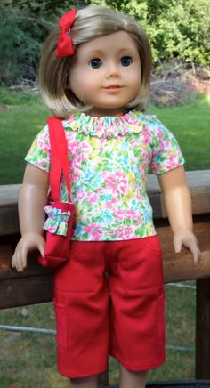 Red Cargo Capri Pants, Shirt, Purse and Bow
