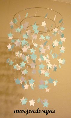 aqua and white star mobile, baby boy decor, nursery decor, unique gift, photo prop, crib mobile, teen room, photo booth, baby shower decor on Etsy, $45.00