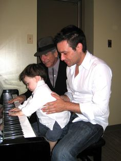Adam Cohen with dad Leonard Cohen and son Cassius. 2 great musicians and one in the making!!!!!