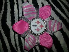 Sporty Bottlecap Flower NFL Football Pittsburgh Steelers Zebra Animal Print Hair Bow ~ Free Shipping Price: $4.00