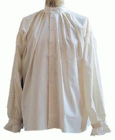 Men's 17th Century Shirt. Button through collarless shirt in 100% cotton with linen buttons and frilled cuffs. A versatile shirt when using your own trimming.