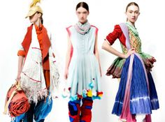 """Karishma Shahani distills the colorful essence of her home country of India into a stunning collection of upcycled fashion. """"Yatra"""" includes recycled plastic packaging mixed with natural fabrics like cotton, silk, linen and muslin that were dip-dyed using plants from a local market."""