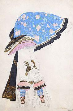 """Costume design by Leon Bakst (1866-1924), 1920, """"The Acrobat"""", watercolor, gouache  pencil. (Ballet Russe)"""