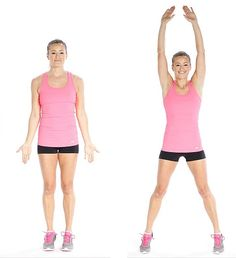 Jumping jacks exercise, great warm-up for bikini body challenge. Try this bikini body challenge for perfect shapes and to start a new journey. Full Body Workouts, Easy Workouts, Entrainement Full Body, Cardio Training Zu Hause, Quick Morning Workout, Morning Workouts, Strength Training For Beginners, Beach Body Challenge, Relaxation Exercises