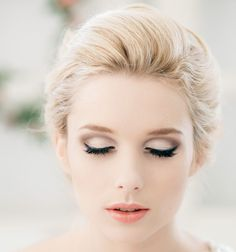 Coral lips, great eyeliner  // Classy and Timeless Wedding Hairstyles from Elstile