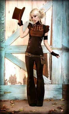 Steampunk classic Couture fashion. From the plain top-hat down to the old-west cut pants & choice of rich chocolate browns, this ensemble challenges gender roles.