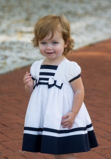 Little girls sailor dress from Sarah Louise. A sweet nautical style dress for a little girl. Available in sizes 3 month to 12 months. Toddler Girl Dresses, Little Girl Dresses, Baby Dresses, Little Girl Fashion, Fashion Kids, Childrens Winter Coats, Kids Dress Wear, Dress Girl, Baby Girl Dress Patterns