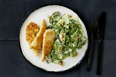 Photo for the dish: Couscous-Crusted Chicken with Watercress and Apple Salad