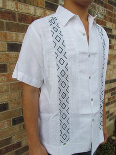 Mens Mexican Embroidered Cotton 60s Ethnic Shirt