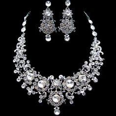 Wedding Flower Necklace Earring Set Swarovski Crystal Bridesmaid Gifts   allureJewelry - Jewelry on ArtFire