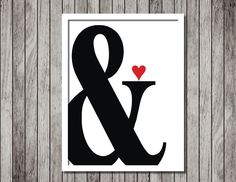 Ampersand Art Print - Minimal Art Print - 8.5x11 Black and white Typography Print - Ready to Frame - pinned by pin4etsy.com