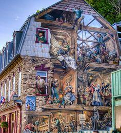 Building Murals, Quartier Petit-Champlain, Quebec City, Canada