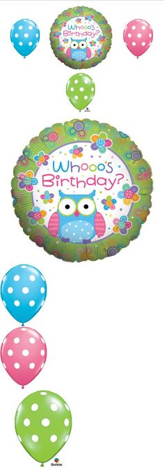 Whooo's Birthday OWL PARTY Balloons Decorations Supplies Teen Girl - This listing is for a 4-piece Whooo's Birthday Owl balloon bouquet kit.   These  balloons are sure to be a hit!    You will receive:   One (1) 18 Whooo's Birthday owl round mylar shape balloon.   Thr... - Balloons - Office Products - $3.73