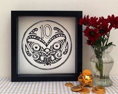Linocut New Zealand 10 Cent Coin  Lino Print by WoahTherePickle