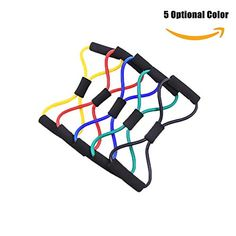 Delight eShop Exercise Resistance Bands 8 Type Gym Quality for any Yoga Program or Home Fitness Training Program Workout Abs Arms Legs  Back 5 optional color Yellow >>> Want additional info? Click on the image.