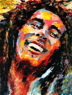 Bob Marley Original Oil Portrait Painting by Artist Derek Russell 2012 Copyright