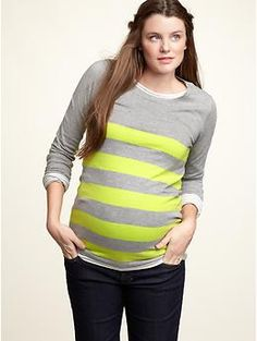 Stripes are still huge hit for spring! This #maternity pullover from @Gap is especially great in the bright yellow and neutral gray.