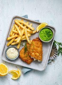 Fish & Chips med remulade og ertrepurè Fish And Chips