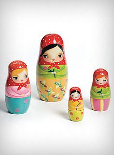 "Such charmingly adorable ""bashful Russian nesting dolls""."