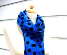 Navy Blue - Black  POLKA DOT pashmina scarf