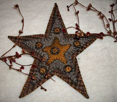 Wool Star Applique Penny Rug Candle Mat - http://www.patternmart.com/pattern/16068/Wool+Star+Applique+Penny+Rug+Candle+Mat#