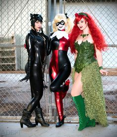 Gotham City Sirens Cosplay - Catwoman by Tenleid, Ivy by AlexandriaTheRed, Harley by Ashlynne Dae