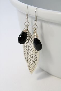 Long Metal Leaf Earrings with Black Briolettes  by thegraydeer, #jewelry #handmade #fashion