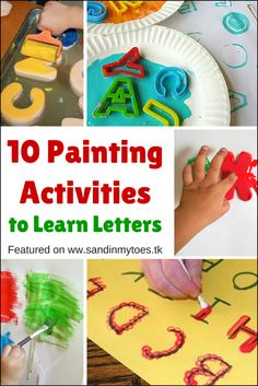 Ten Painting Activities to Learn Letters Here are ten fun and creative ideas for kids to learn their letters using paint! Painting Activities, Preschool Learning Activities, Alphabet Activities, Kids Learning, Teaching Ideas, Alphabet Crafts, Classroom Activities, Toddler Activities, Preschool Projects