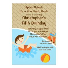 Pool Party Invitations CUTE Boy Pool Party Birthday Invitation