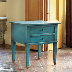 Bouclier Side Table-prefer in distressed blue/gray