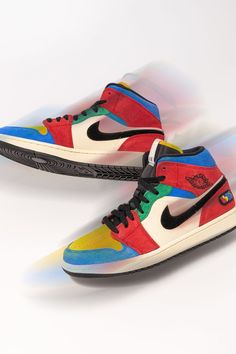 """In 2019, the Air Jordan 1 Mid broke out as part of Jordan's """"Fearless"""" campaign that saw various creatives offer their take on the emerging shoe. A standout from the line was visual artist Blue the Great's graffiti-inspired colorway."""