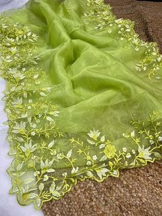 Unique Style Organza Silk Saree with embroidery work & Sattin Blouse -Style Array Silk Sarees, Indian Sarees, Saree Dress, Saree Blouse, Green Saree, Saree Wedding, Blouses For Women, Embroidery, Printed Sarees