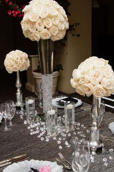 Courtney Dailey Photography via CeremonyBlog.com (8) #trumpetvase #weddingcenterpiece Yellow Grey Weddings, Gray Weddings, Wedding Bells, Wedding Reception, Wedding Ideas, Centrepieces, Wedding Centerpieces, Bridal Boudoir Photos, White Roses Wedding