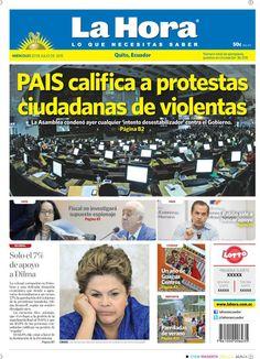 """Acá nuestra portada de hoy, 22  de julio del 2015. Tema destacado: """" PAIS  califica a protestas ciudadanas de violentas""""."""