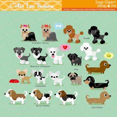 Dog Clipart, Puppy Clipart set includes 23 cute graphics . Graphics are PERFECT for the Scrapbooking, Cards Design, Stickers, Paper Crafts, Web Design, T-shirt Design...More and more! Whatever your want! For more dog clipart :
