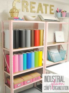 Inexpensive Craft Room Shelving - www.classyclutter.net... very organised, and tidy....and nothing like an actual craft room, crafters will know what I'm talking about ;)