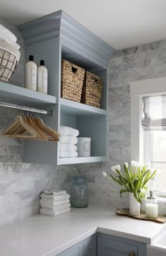 7 Small Laundry Room Design Ideas - Des Home Design Laundry Room Remodel, Laundry Room Organization, Laundry Storage, Utility Room Storage, Laundry Room Shelving, Organized Laundry Rooms, Laundry Room Makeovers, Laundry Detergent Storage, Powder Room Storage