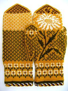 Рукавички с жаккардовым узором – 51 фотография Mittens Pattern, Knit Mittens, Knitting Socks, Mitten Gloves, Double Knitting Patterns, Sunflower Pattern, Fair Isle Knitting, Hand Warmers, Knit Crochet
