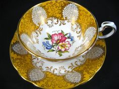4:00 Tea...Paragon...Bright Yellow and Gold...Sweet Pea...teacup and saucer