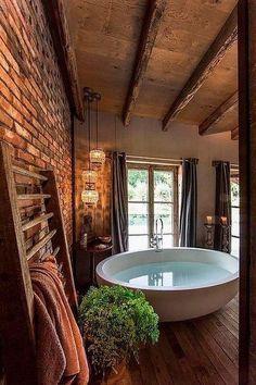 Rustic Bathroom Designs, Rustic Home Design, Modern Farmhouse Bathroom, Rustic Bathrooms, Rustic Farmhouse, Bathroom Ideas, Bathroom Vanities, Bathroom Storage, Bathroom Cabinets