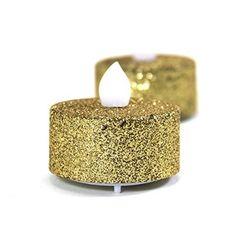 Koyal Gold Glitter Flameless Tealight Candles, 24-Pack