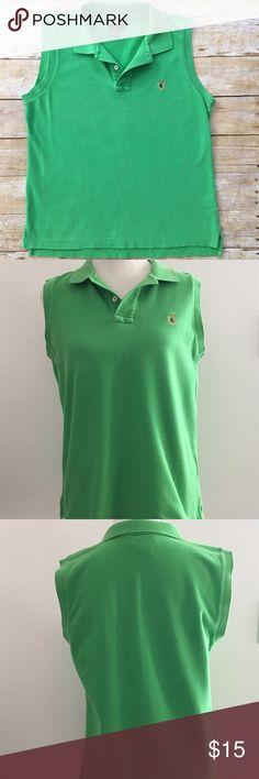 "RALPH LAUREN Sleeveless Polo Shirt LAUREN RALPH LAUREN Crest Logo Top Collar Neck | Sleeveless Style Green 2-Button Polo Shirt Regular Fit (not slim fit) SIZE Large | SHIPS FAST! 📦  Approximate Measurements (not doubled): Width (underarm to underarm) - 20.5"" Length - 25"" Ralph Lauren Tops Blouses"