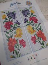 Sajou Berlin Woolwork Chart- Cross Stitch/ Petit Point-  Carnations