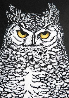 'Eagle Eyes' By Printmaker Katharine Green. Blank Art Cards By Green Pebble… Woodcut Art, Linocut Prints, Owl Quilts, Etching Prints, Felt Owls, Eagle Eye, Art Deco Posters, Owl Art, Art Graphique