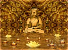 Worshipping the Buddha - Spiritual Art by Giada Rossi. Fine art prints and posters for sale. #giadarossi #digitalart #spiritualart