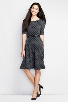 Women s elbow sleeve flocked a line boatneck dress from lands end