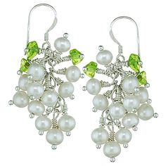 Snow Drops - Orchira white pearl and peridot sterling silver earring drops. More @ www.orchira.co.uk and #jewellery #pearl #earrings #orchira