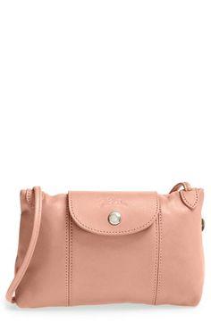 Longchamp 'le Pliage - Cuir' Crossbody Bag In Greige Crossbody Bag, Tote Bag, Leather Crossbody, Europe Fashion, Longchamp, Fashion Handbags, Pebbled Leather, Daily Fashion, Bag Accessories
