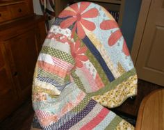 Oriental Quilted Wall Hanging Lap Quilt Blue Gold by HollysHutch
