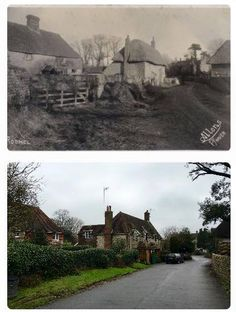 Vine cottages and farmyard then and now
